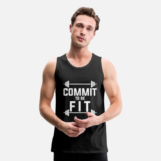 Fitness Tank Tops - Commit to be fit - Men's Premium Tank Top black