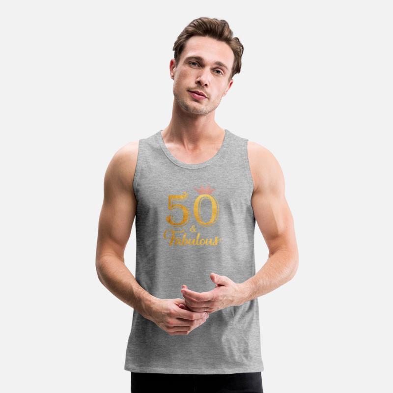 50th Birthday Present Who New 50 Mens Vest Tank Gym Top Size S-XXL
