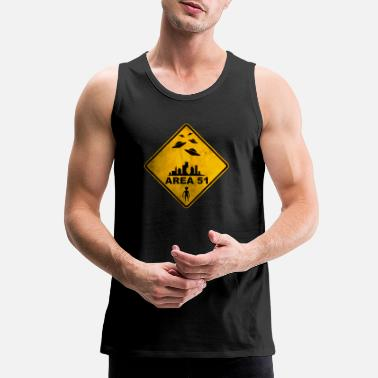Area 51 AREA 51 yellow warning road sign with UFOs. - Men's Premium Tank