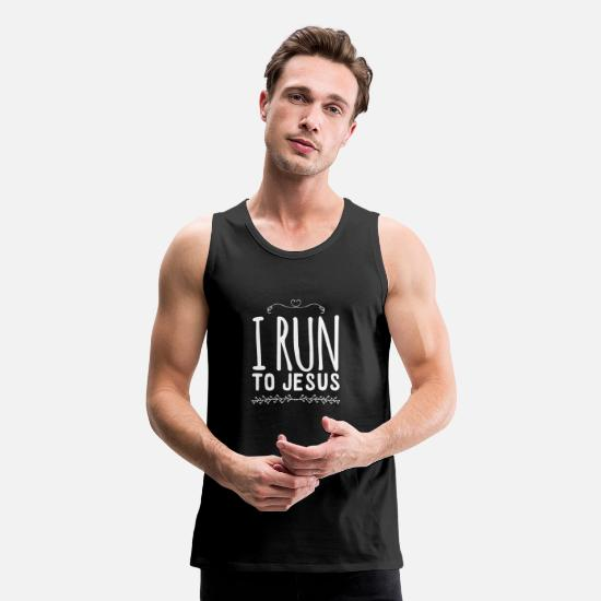 Christian Saying Tank Tops - I run to jesus - Men's Premium Tank Top black