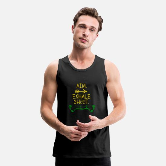 Archery Tank Tops - Awesome Archery - Archer Aim Exhale Shoot - Men's Premium Tank Top black