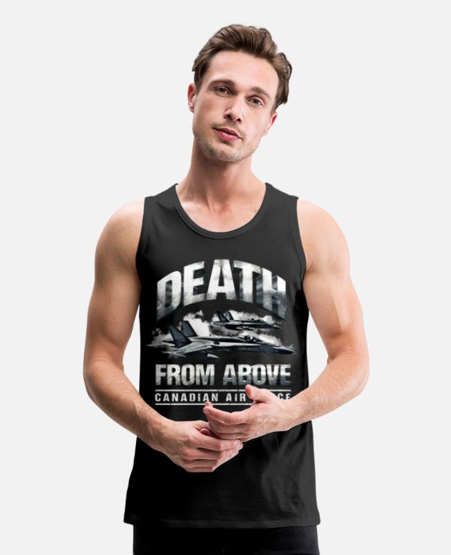 Air Force Veteran Tank Tops - Death From Above Canadian Air Force - Men's Premium Tank Top black