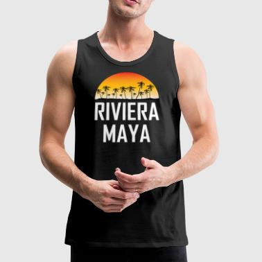 Riviera Maya Mexico Sunset Palm Trees Beach - Men's Premium Tank