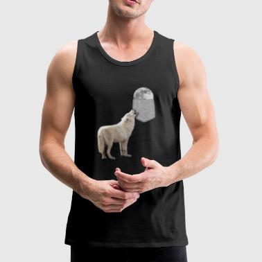 Wolf Howling To Moon In Your Fake Pocket Funny - Men's Premium Tank