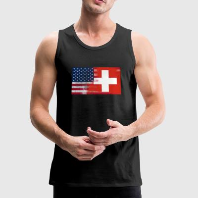 Swiss American Half Switzerland Half America Flag - Men's Premium Tank