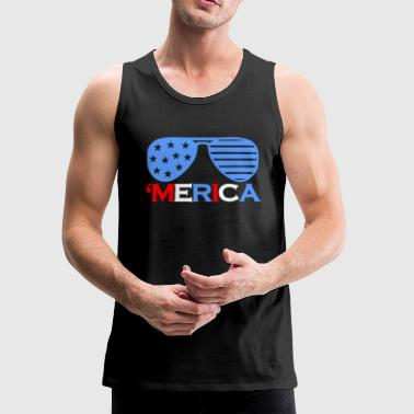 'Merica America Sunglasses 4th OfJuly - Men's Premium Tank
