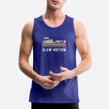 Motion Vintage Pontoon Boat Captain Party In Slow Motion - Men's Premium Tank Top