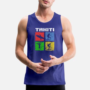 Tahiti TAHITI Surfer Surf Art Design T-Shirt Gift - Men's Premium Tank Top