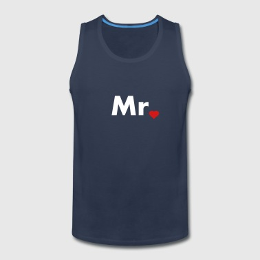 Mr with heart dot - part of Mr and Mrs set - Men's Premium Tank