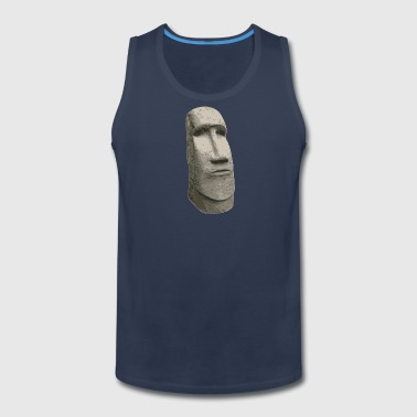 Brown Stone Easter Island Carved Moai Head - Men's Premium Tank