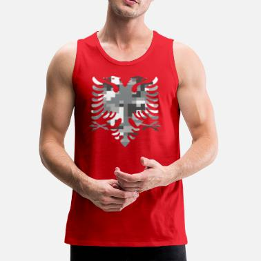 Albania Albanian Double Headed White Camo Flag - Men's Premium Tank