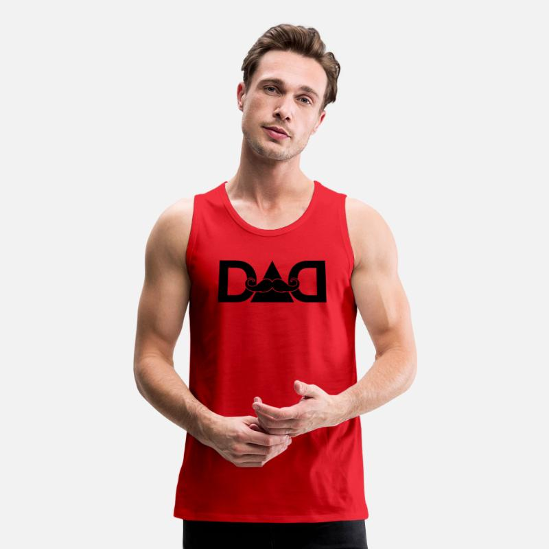 Baby Tank Tops - dad mustache - Superhero-Daddy-Papa-Father's day - Men's Premium Tank Top red