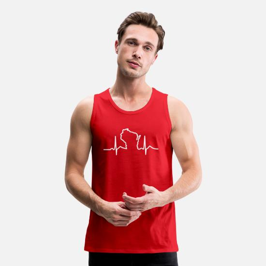 Beat Tank Tops - Wisconsin Heart Beat Apparel Clothing T-Shirts - Men's Premium Tank Top red