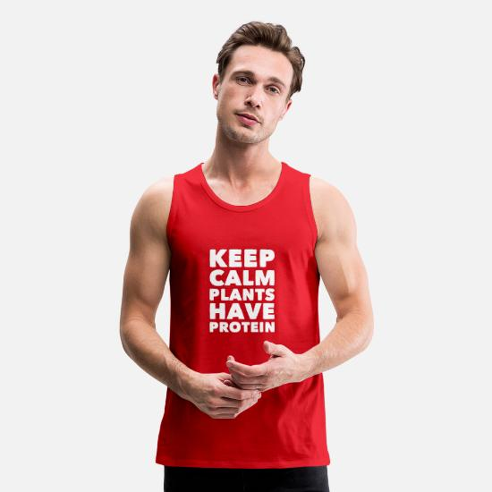 Protein Tank Tops - Keep calm plants have protein - Men's Premium Tank Top red