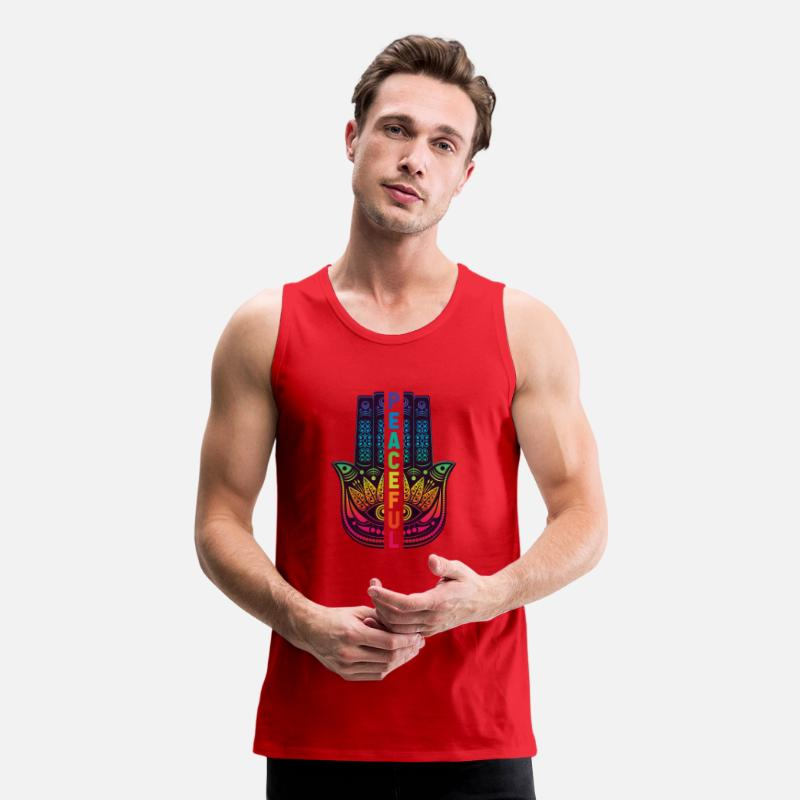Peace Tank Tops - Peaceful Hand Sign Peace - Men's Premium Tank Top red
