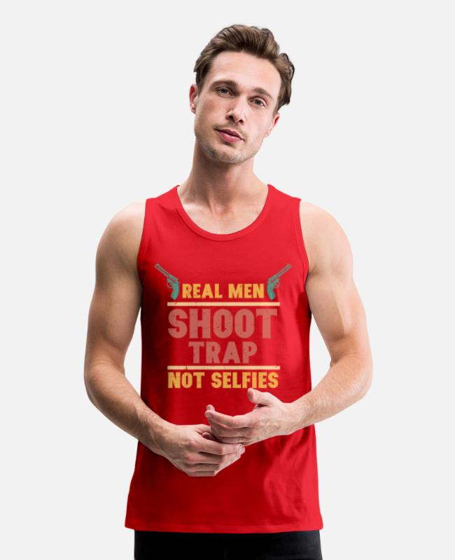 Gun Lover Tank Tops - Real Men Shoot Trap Not Selfies - Men's Premium Tank Top red