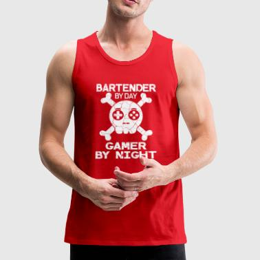 Bartender By Day Gamer By Night Gift - Men's Premium Tank