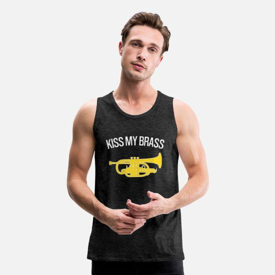 Funny Tank Tops - Kiss my brass - Funny cornet gift - Men's Premium Tank Top charcoal gray