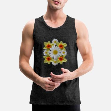 daisies floral bloom daisy spring daffodil florets - Men's Premium Tank Top