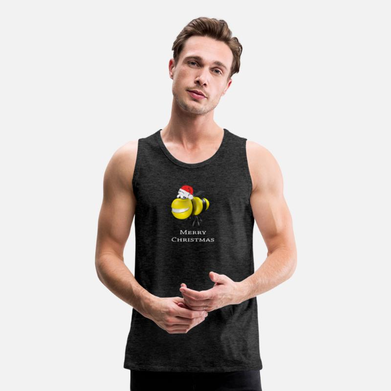 Honey Bee Tank Tops - Merry Christmas Bee Shirt - Men's Premium Tank Top charcoal gray