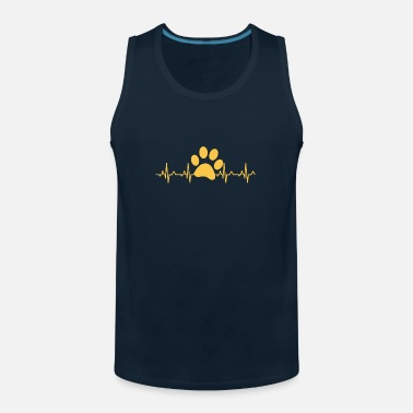 Animal Pawprint Heartbeat T-Shirt, Cute Funny Rescue Dog - Men's Premium Tank Top