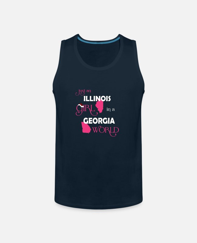 Illinois Flag Tank Tops - Illinois girl - She is in a Georgia world t-shirt - Men's Premium Tank Top deep navy