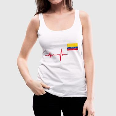 Heartbeat Colombia flag gift - Women's Premium Tank Top