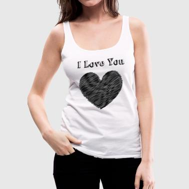 Kiss Illustration Love with heart - Women's Premium Tank Top