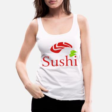Chopsticks Sushi Logo fish china town - Women's Premium Tank Top