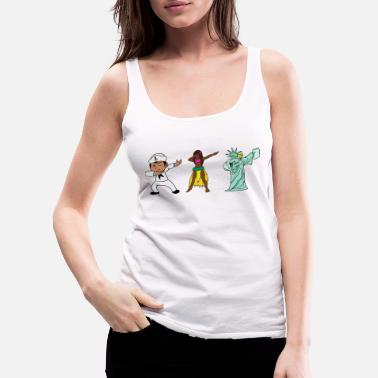 Hula Hoop Dabbing Dab Statue of Liberty Sailor Hula Girl USA - Women's Premium Tank Top