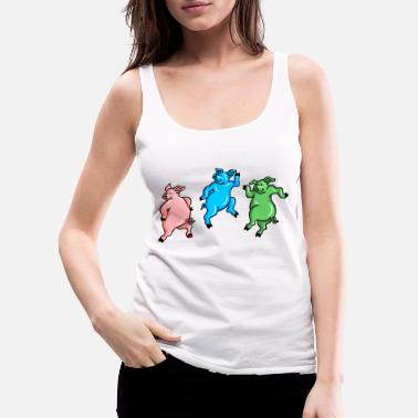 Dancing pigs frolicking - Women's Premium Tank Top