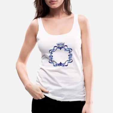 Element Frame with crown of blue ribbons and cornflowers - Women's Premium Tank Top