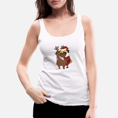 Pug Pug Hugs Christmas - Women's Premium Tank Top