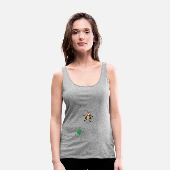 Birthday Tank Tops - Spider cobweb fly tarantula catching insect - Women's Premium Tank Top heather gray