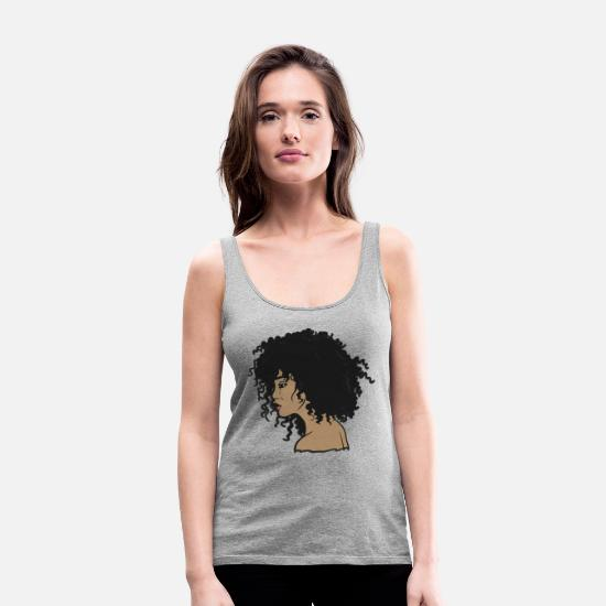 Hair Tank Tops - My Afro - Natural Hair - Afrocentric Gift - Women's Premium Tank Top heather gray