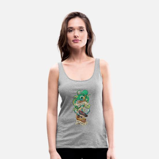 Pirate Tank Tops - Old school tattoo octopus - Women's Premium Tank Top heather gray