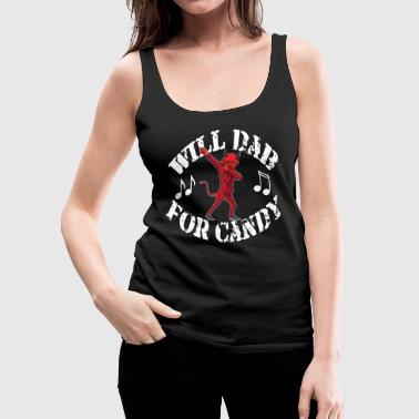 Move Funny Halloween Devil Will Dab For Candy. Trick or Treat Candy Lover Gift - Women's Premium Tank Top