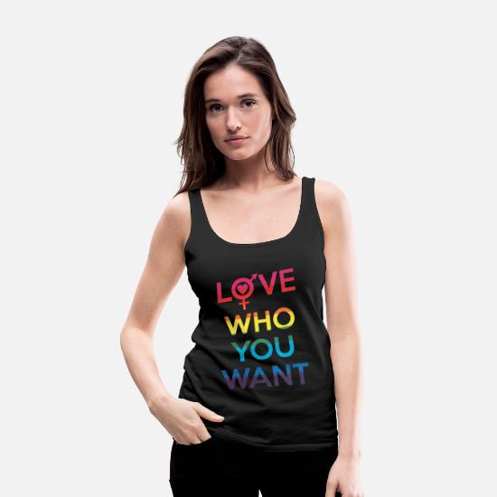 Pride Tank Tops - Love Who You Want LGBT Pride - Women's Premium Tank Top black
