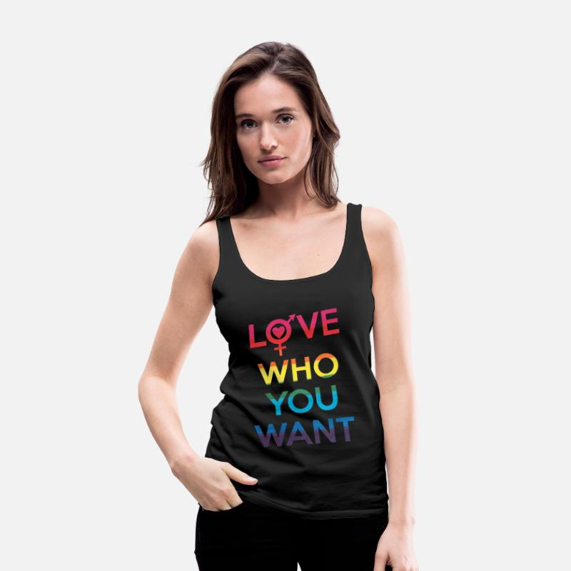 Lgbt Tank Tops - Love Who You Want LGBT Pride - Women's Premium Tank Top black