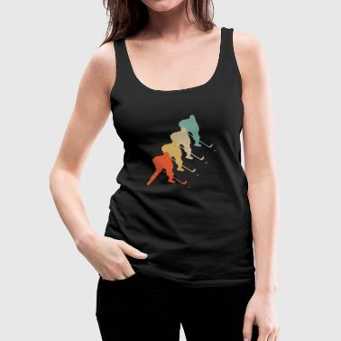 Retro Vintage Style Hockey Player Puck Stick - Women's Premium Tank Top