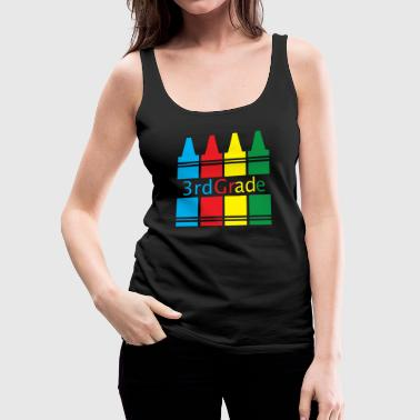 3rd Grade Back to School Crayons Colorful - Women's Premium Tank Top