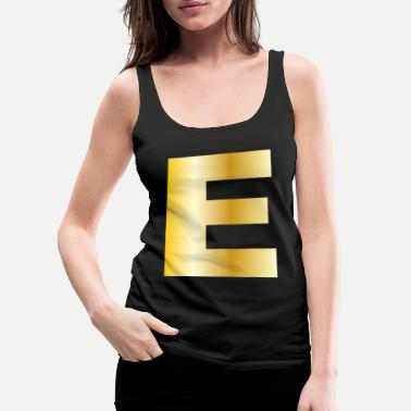 Hello My Name Is E | Letter Gold Text Initial Surname Family Gift - Women's Premium Tank Top