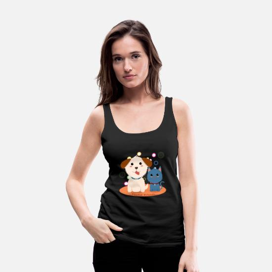 Dog Owner Tank Tops - Dog and cat are playful friends - Women's Premium Tank Top black