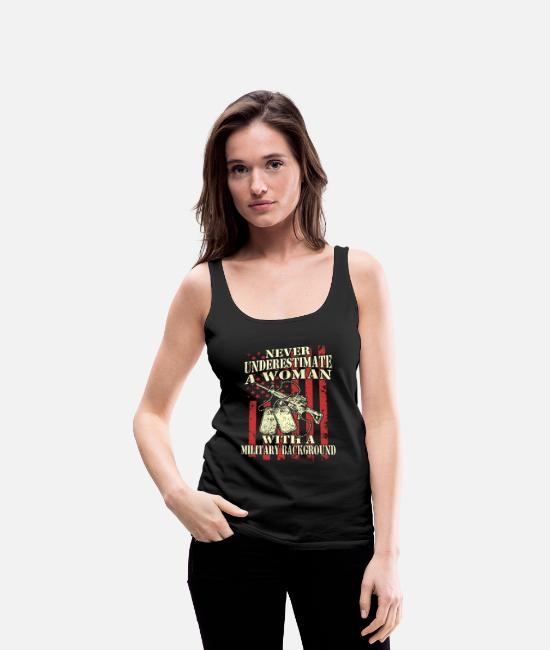 Fighter Tank Tops - A woman with a military background - Women's Premium Tank Top black