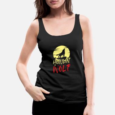 Full Moon Wolf full moon howl predator hunting lonely - Women's Premium Tank Top