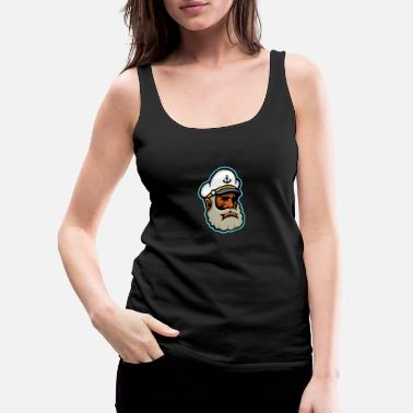Black Sea Captain or Skipper Mascot - Women's Premium Tank Top