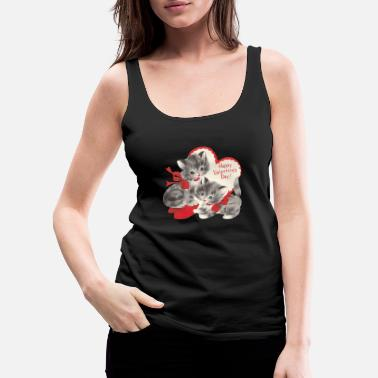 VALENTINES DAY KITTENS RED BOW & HEARTS - Women's Premium Tank Top