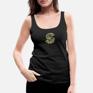 Initial S letter camouflage patch sewn army - Women's Premium Tank Top