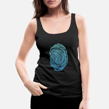Funky Fingerprint T-shirt Design Funny Cool Graphics Tee - Women's Premium Tank Top