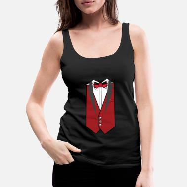 Tuxedo Skull Suit Wedding Red Gift Fly Button - Women's Premium Tank Top